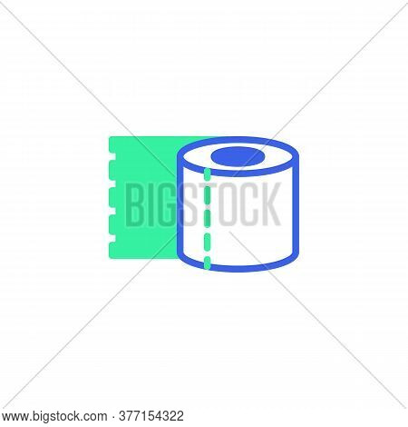 Toilet Paper Roll Icon Vector, Filled Flat Sign, Bicolor Pictogram, Green And Blue Colors. Symbol, L
