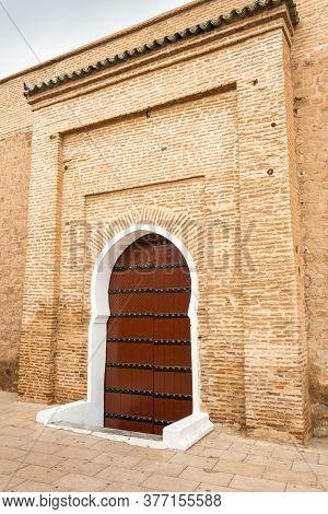 A Big Brown Door In Marrakesh Near The Koutoubia