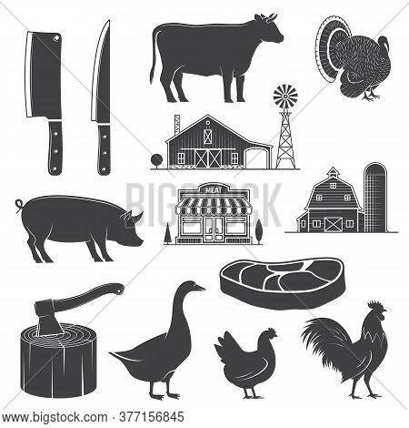 Farm Animals, Butsher Shop, Farm, Steak, Kitchen Knife Silhouettes Isolated On White. Vector Illustr