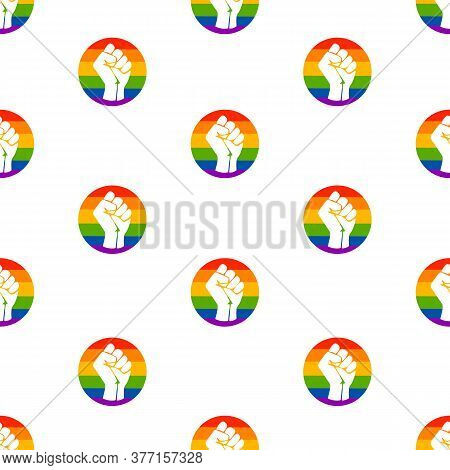 Symbol Of The Lgbt Community, A Fists In A Rainbow Circle. Black Lives Matter. Movement For Freedom