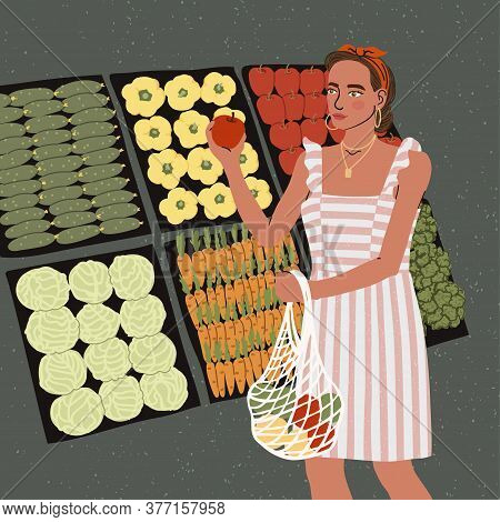 Vector Colorful Illustration Of Cute Young Girl With Eco Bag Buy Food In The Store Or Market, Trendy