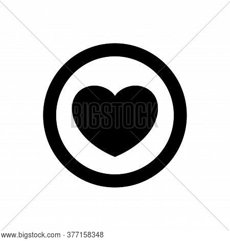 Heart Shape Icon Simple In Circle Black, Heart Symbol For Graphic, Passion Or Romantic Icon, Love Sy