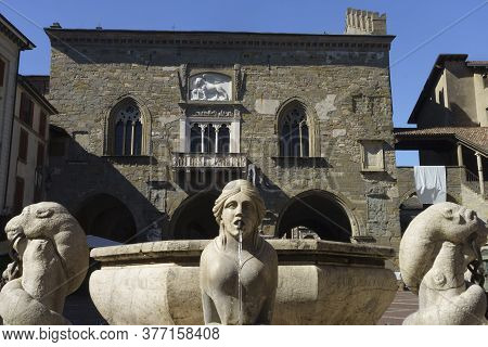 Bergamo, Lombardy, Italy: Historic Buildings In The Main Square Of The City Known As Piazza Vecchia