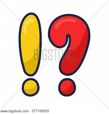 Exclamation And Question Mark In The Alphabet On An Isolated White Background. A Punctuation Mark At