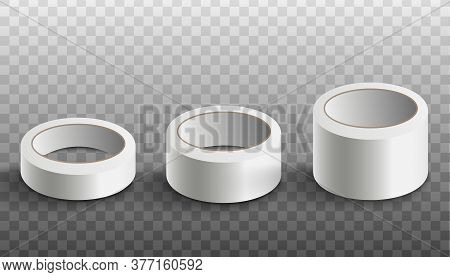 Set Of White Scotch Tape Rolls Realistic Vector Mockup Illustration Isolated.