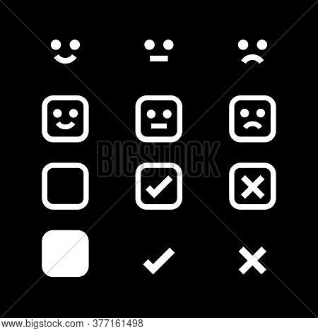 White Icon Emotions Face, Emotional Symbol And Approval Check Sign Button, White Emotions Faces And
