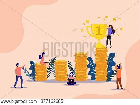 Successful Businessman Holds The Gold Trophy On Many Piled Coins. On The Way To Success. Positive Th