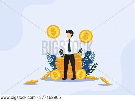 Businessman Standing At Golden Stacks Of Coins.loan Offer, Bank Investments Or Refinancing. Reward F