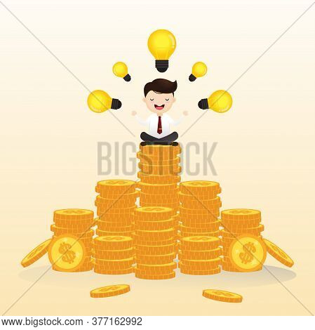Businessman Sitting In Lotus Position And Meditating On Stacks Of Coins. Investing And Investing Mon