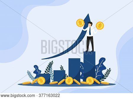 Successful Businessman Holds The Coin On Graph. On The Way To Success.positive Thinking And Success