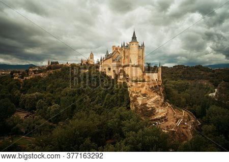 Alcazar of Segovia as the famous landmark aerial view in Spain.