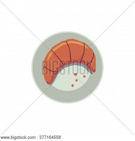 Crispy Croissant On Plate, Flat Cartoon Vector Illustration Isolated On White.