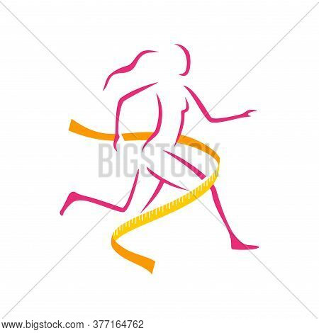 Fitness And Weight Loss Logo Concept - Running Woman Silhouette Crossing The Finish Line In Measurin