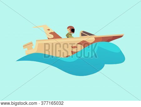 Person Driving Fast Motorboat With Fire Flame Design On Blue Water Wave