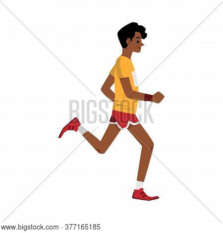 Side View Of Cartoon Runner Jogging In Summer Workout Clothes