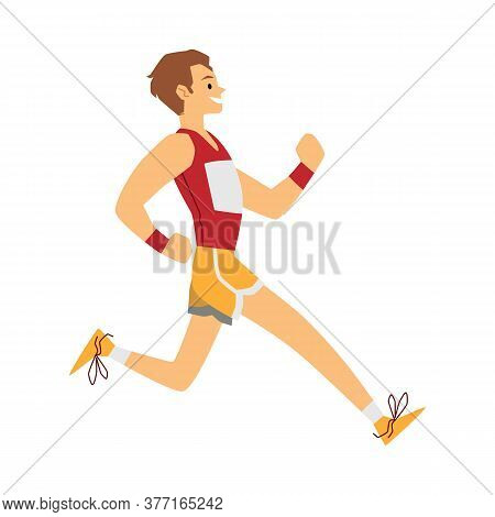 Sprinter Athlete Man In Sport Clothes Running In A Race And Smiling