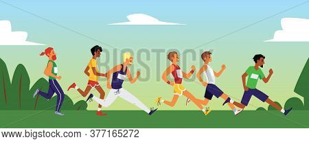 Running Marathon In Summer Nature - Flat Banner With Male Runners In Race