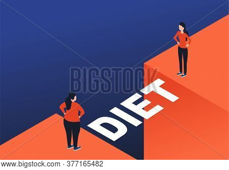 Weight Loss Diet Before And After Concept - Woman Before And After Program Facing An Abyss With Brid
