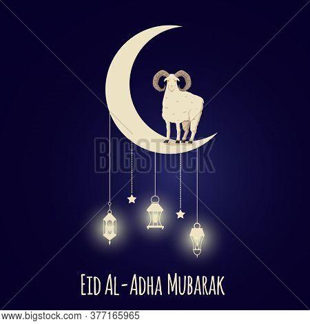 Eid Al-adha Muslim Festival Banner Template With Sheep Vector Illustration.
