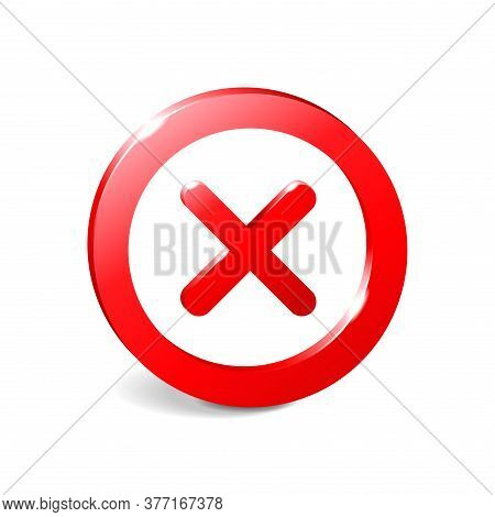 Prohibit Sign 3d Empty Template - Crosser Out Red Prohibition Caution Circle In Extruded Glossy Deco