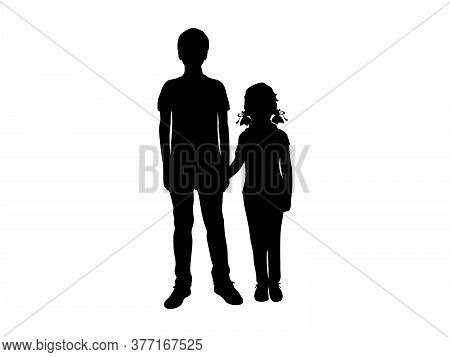 Silhouettes Of Boy And Girl Holding Hands. Illustration Graphics Icon