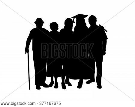Silhouette Girl Graduate Hugs Family Of Parents And Grandparents. Illustration Graphics Icon