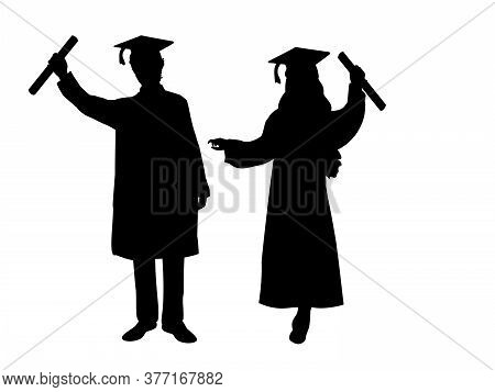 Silhouettes Of Happy Boy And Girl Graduates. Illustration Graphics Icon