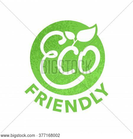Eco Friendly Green Stamp (sticker) For Healthy Or Natural Food Products, Cosmetics, Packaging Markin