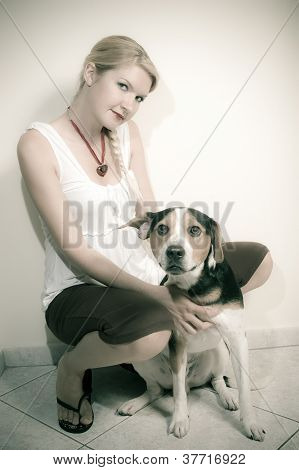 A Girl With Her Dog