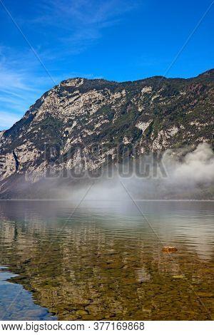 Lake Bohinj In Slovenia, Beauty In Nature. Colorful Summer On The Bohinj Lake In Triglav National Pa