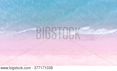 Blue Sea And White Sand Beach In Summer Landscape For Web Advertisment And Poster Background.aerial
