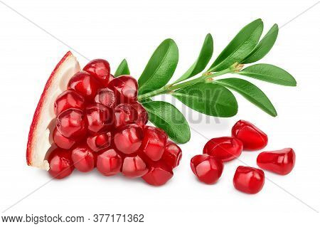 Pomegranate Piece With Leaf Isolated On White Background With Clipping Path And Full Depth Of Field.