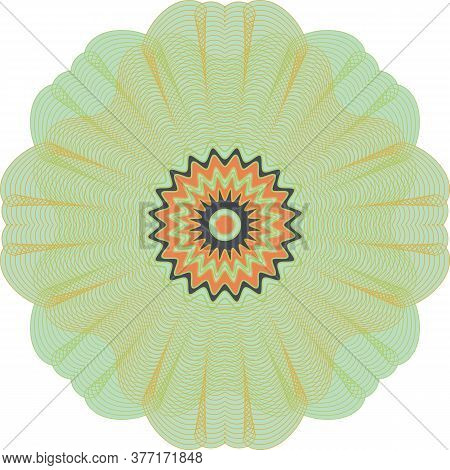 Decorative Rosette Shape With Guilloche Effect Vector Illustration. Embellishment For Cards, Diploma