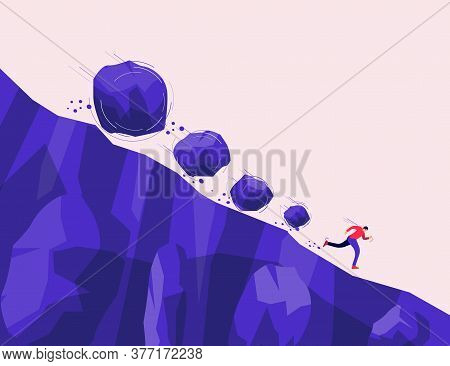 Boulder Rocks Stone Crisis Rolling Fall Down On A Run Away Man From Steep Mountain Hill Slope. Covid