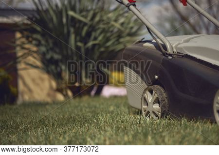Black And Gray Modern Grass-cutter Mowing Green Lawn In A Garden Of Country House. Gardening Care Eq