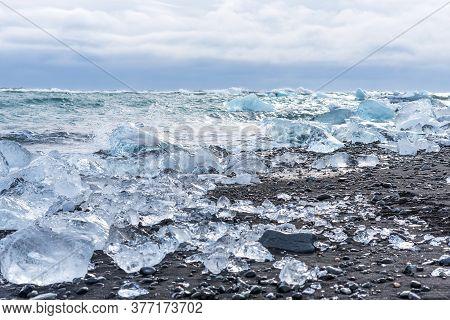 Picturesque Winter Landscape View Of Diamond Beach Near Jokulsarlon Lagoon, Iceland.