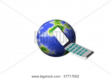 cell phone with earth sphere background