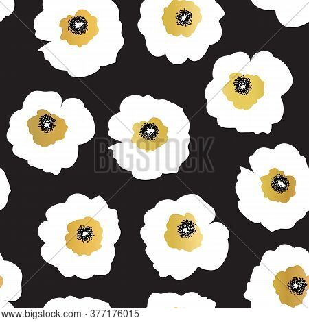 Seamless Vector Pattern White And Golden Flowers On A Black Background. Seamless Floral Pattern With