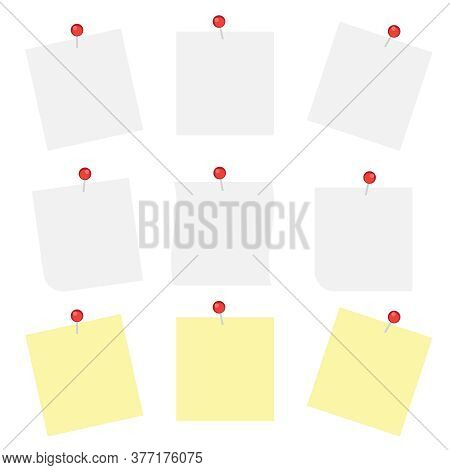 White Note Papers With Thumbtacks Vector Icons. Blank Paper Notices