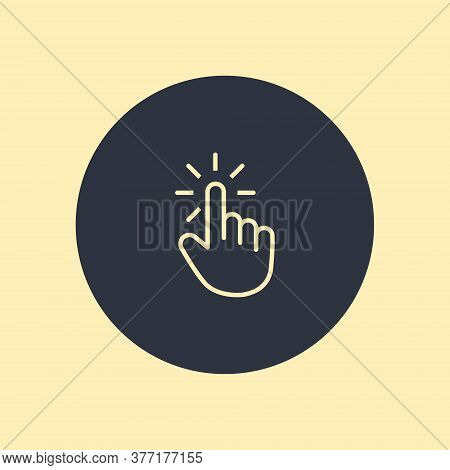 Click Icon. Hand Icon Pointer. Vector Symbol On Round Background