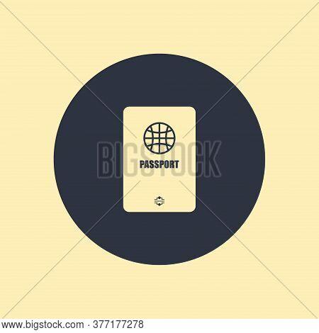 Passport Icon Vector Illustration Symbol On Round Background