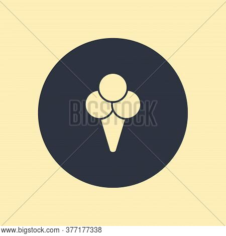 Flat Icon With Shadow. Ice Cream Icon. Vector Symbol On Round Background