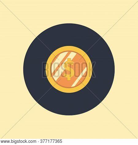 Investment, Modern Flat Icon. Dollar Coin Money Finance Icon. Vector Symbol On Round Background