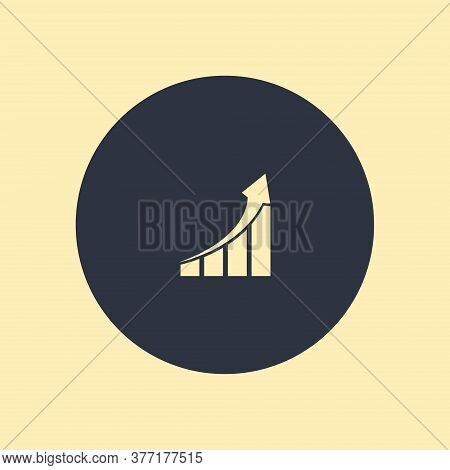 Vector Growing Graph Icon. Vector Symbol On Round Background