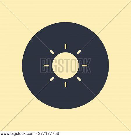 Sun Icon. Vector Symbol On Round Background