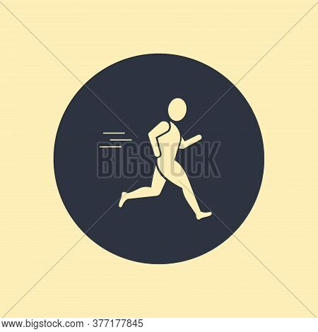 Runner Man Icon. Vector Symbol On Round Background