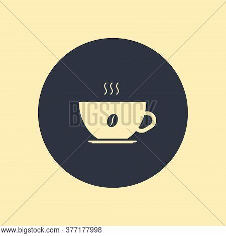 Coffee Icon, Vector Symbol On Round Background