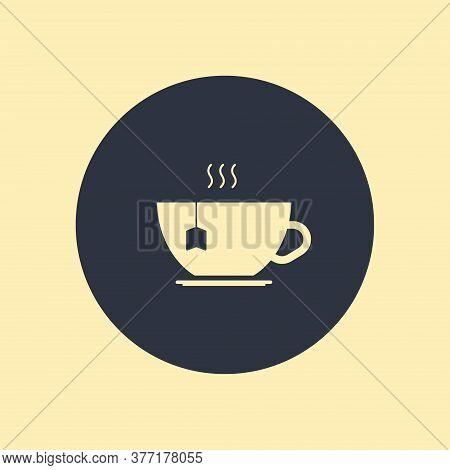 Tea Icon. Vector Symbol On Round Background