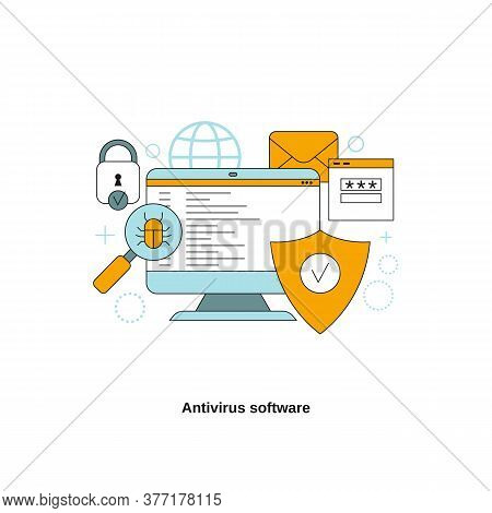 Antivirus Software Concept. Vector Template For Website, Mobile Website, Landing Page, Ui.