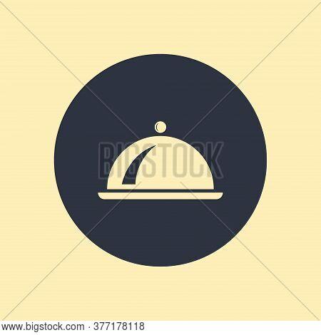 Restaurant Tray Icon. Vector Illustration On Round Background